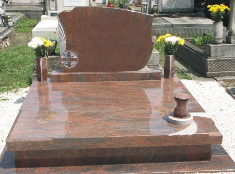 Multicolor gránit dupla sírkő,  10 cm vastag egybe fedlappal