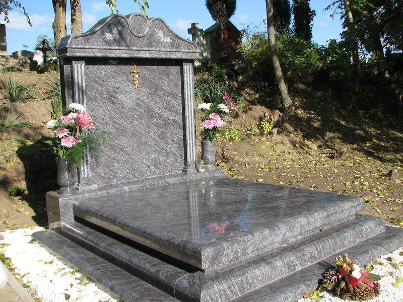 Vizag Blue dupla gránit sírkő 10 cm vastag fedlappal