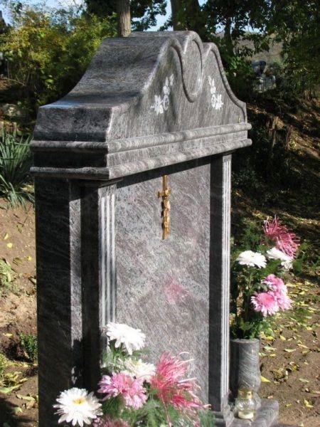 Vizag Blue gránit dupla síremlék emlékrésze oldalnézetből
