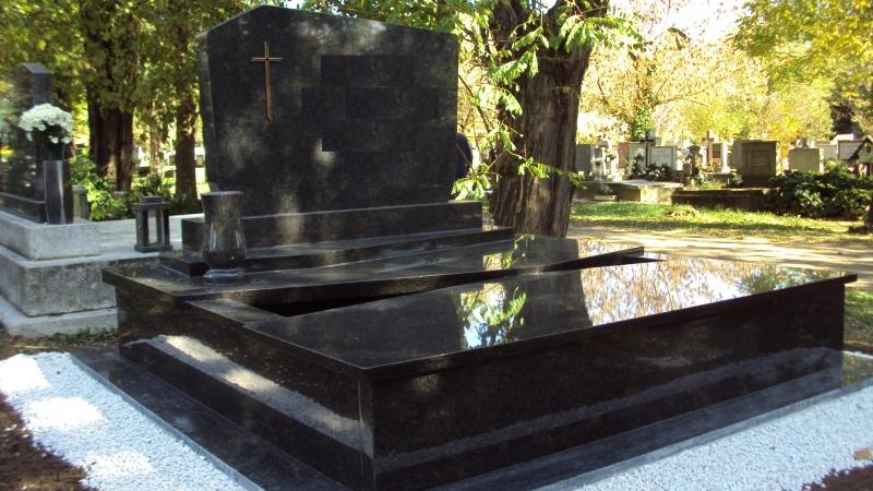 Nero Impala dupla gránit sírkő