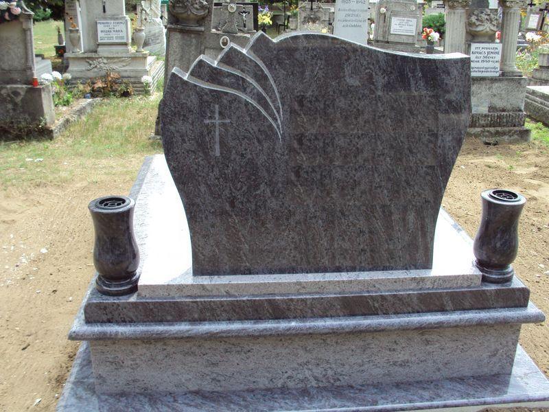 Vizag Blue/Orissa Blue dupla gránit sírkő legyezős fejköve