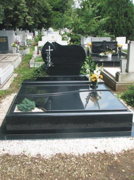 Nero Zimbabwe gránit dupla sírkő orchidea emlékkel