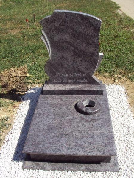 Vizag Blue gránit urna síremlék a fedlapján süllyesztett vázakarikával