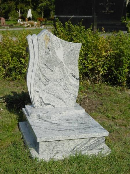 Viscont White gránit urna sírkő, tulipános fazonú emlékkel