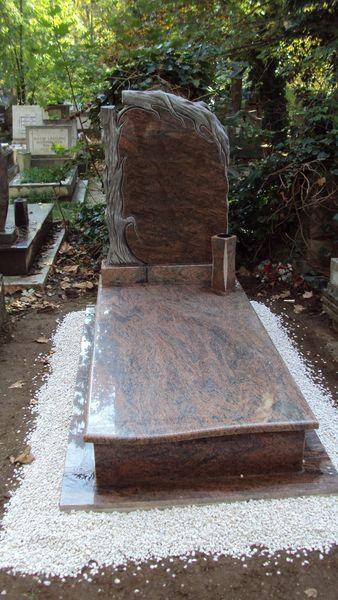 Multicolor szimpla gránit sírkő hullámos íves fedlappal